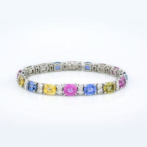 Bracelet-04-18K-White-Gold-Bracelet-Set-With-Cushion-Mix-Sapphires-And-Round-Diamonds.