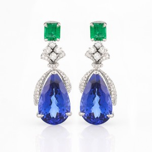 Earring-02-18K-White-Gold-Earring-Set-With-Tanzanite-Pear-Emerald-Round-Diamonds.