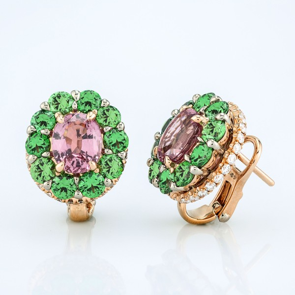 Earring-03-18K-Pink-Gold-Earring-Set-With-Pink-Spinel-Tsavorite-And-Round-Diamonds.