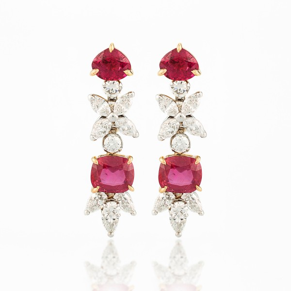 Earring-04-18K-White-or-Yellow-Gold-Earring-Set-With-Ruby-Cushion-or-Trillion-And-Diamond-Marquise-Pear-Round.