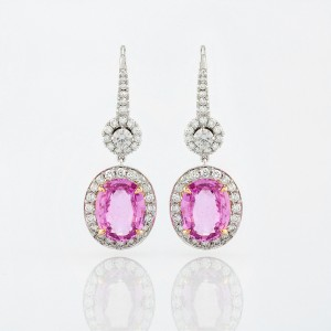 Earring-05-18K-Pink-or-White-Gold-Earring-Set-With-Oval-Pink-Sapphire-Round-Diamonds