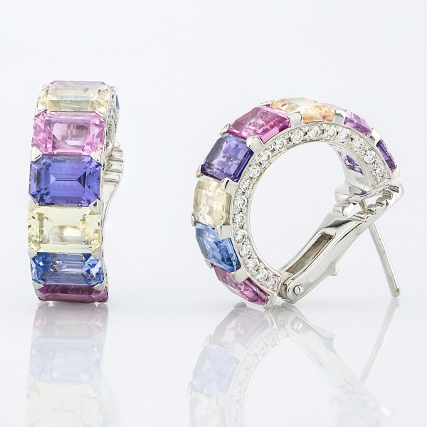 Earring-06-18K-White-Gold-Earrings-Set-With-Emerald-Cut-Mix-Sapphires-Round-Diamonds.