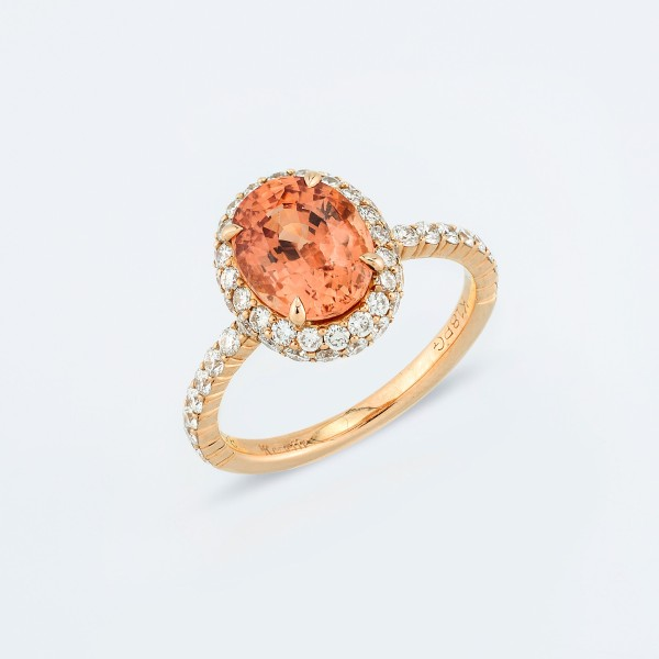 Rings-03-18K-Pink-Gold-Ring-Set-With-Oval-Padmaraga-Round-Diamonds.