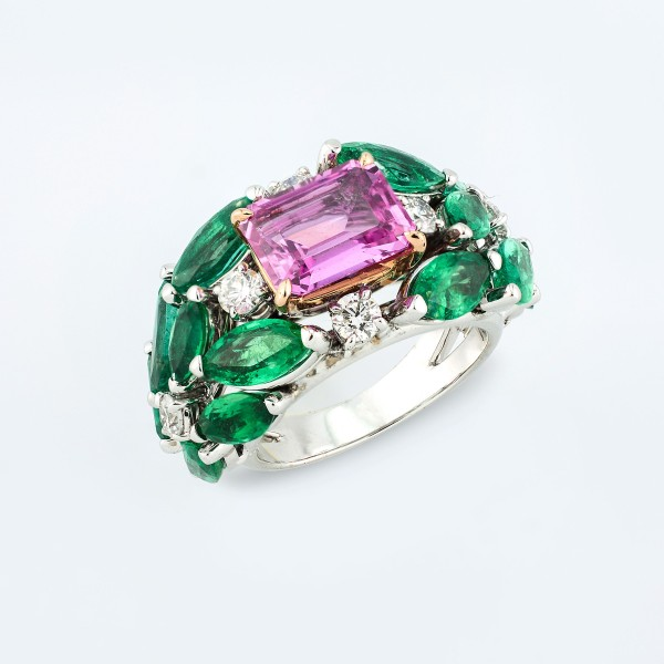 Rings-04-18K-Pink-White-Gold-Ring-Set-With-Emerald-Cut-Pink-Sapphire-Emerald-Marquise-Round-Diamonds.