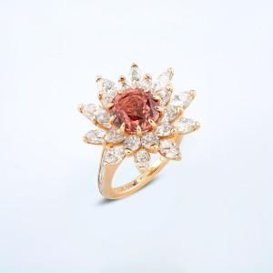 Rings-05-18K-Pink-Gold-Ring-Set-With-Round-Padmaraga-Marquise-Diamonds.