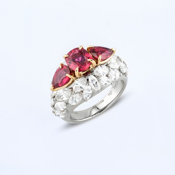 Rings-06-18K-White-or-Yellow-Gold-Ring-Set-With-Ruby-Cushions-Pear-And-Marquise-Diamonds.